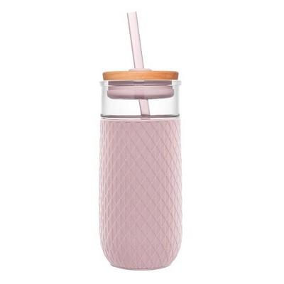 Ello Devon 20oz Glass Tumbler with Lid - Pink