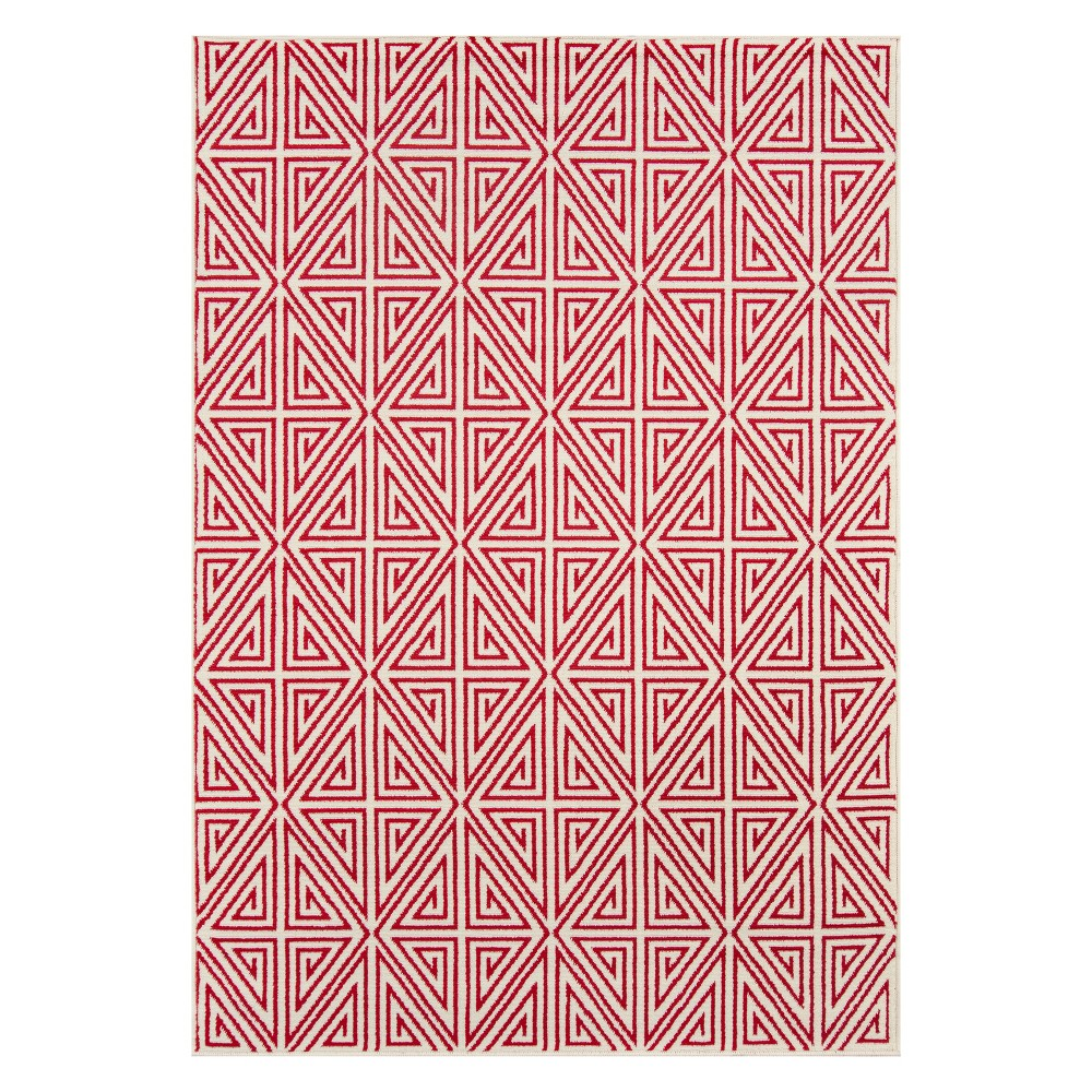 "Image of ""1'8""""X3'7"""" Geometric Loomed Accent Rug Red - Momeni"""