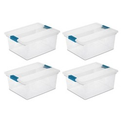Sterilite Deep Clip Box Clear Plastic Storage Container with Lid, 4 Pack