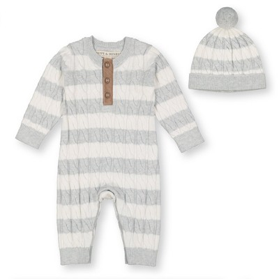 Hope & Henry Baby Henley Stripe Sweater Romper Set, Infant