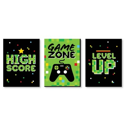Big Dot of Happiness Game Zone - Nursery Wall Art and Pixel Video Game Kids Room Decorations - Gift Ideas - 7.5 x 10 inches - Set of 3 Prints