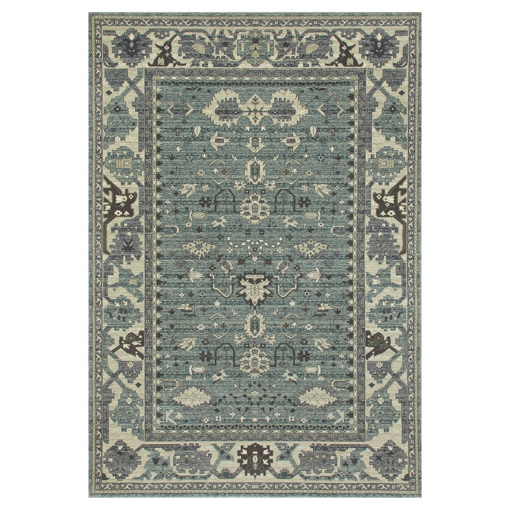 Image of Aqua (Blue) Abstract Woven Area Rug - (7'X10') - Art Carpet