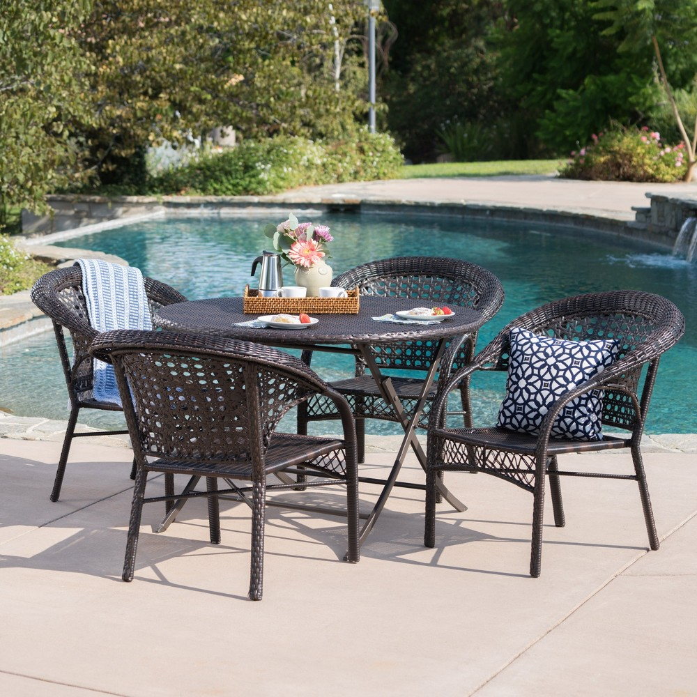 Maxine 5pc Wicker Dining Set - Brown - Christopher Knight Home