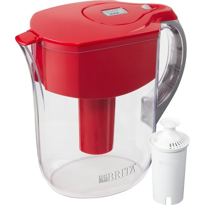 Brita Large 10 Cup BPA Free Water Pitcher with 1 Standard Filter - Red