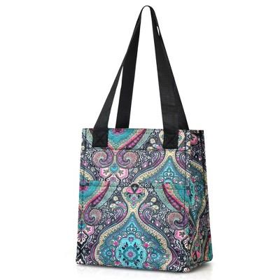 Zodaca Women Lunch Picnic Handbag Insulated Leak Rresistant Tote Carry Bag - Blue Paisley