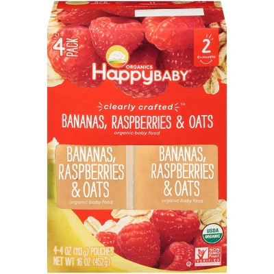 Happy Baby Clearly Crafted, Bananas Raspberries & Oats - 4oz (4ct)