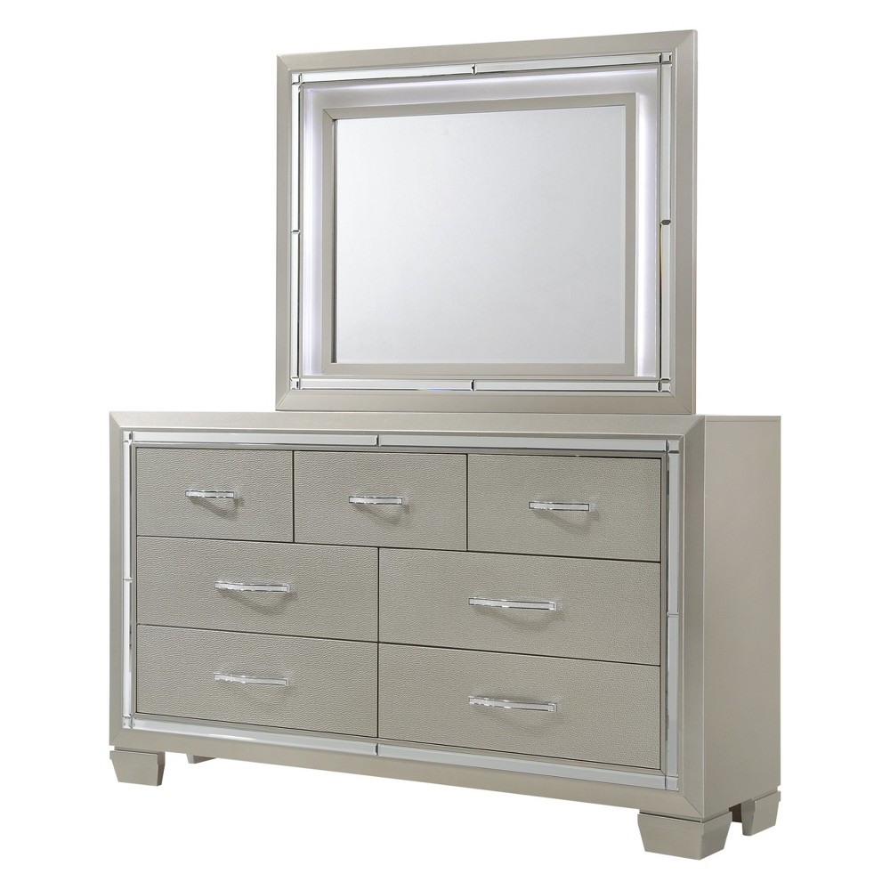 Image of Bryant Dresser And Mirror Set Platinum - Home Source Industries, Silver White
