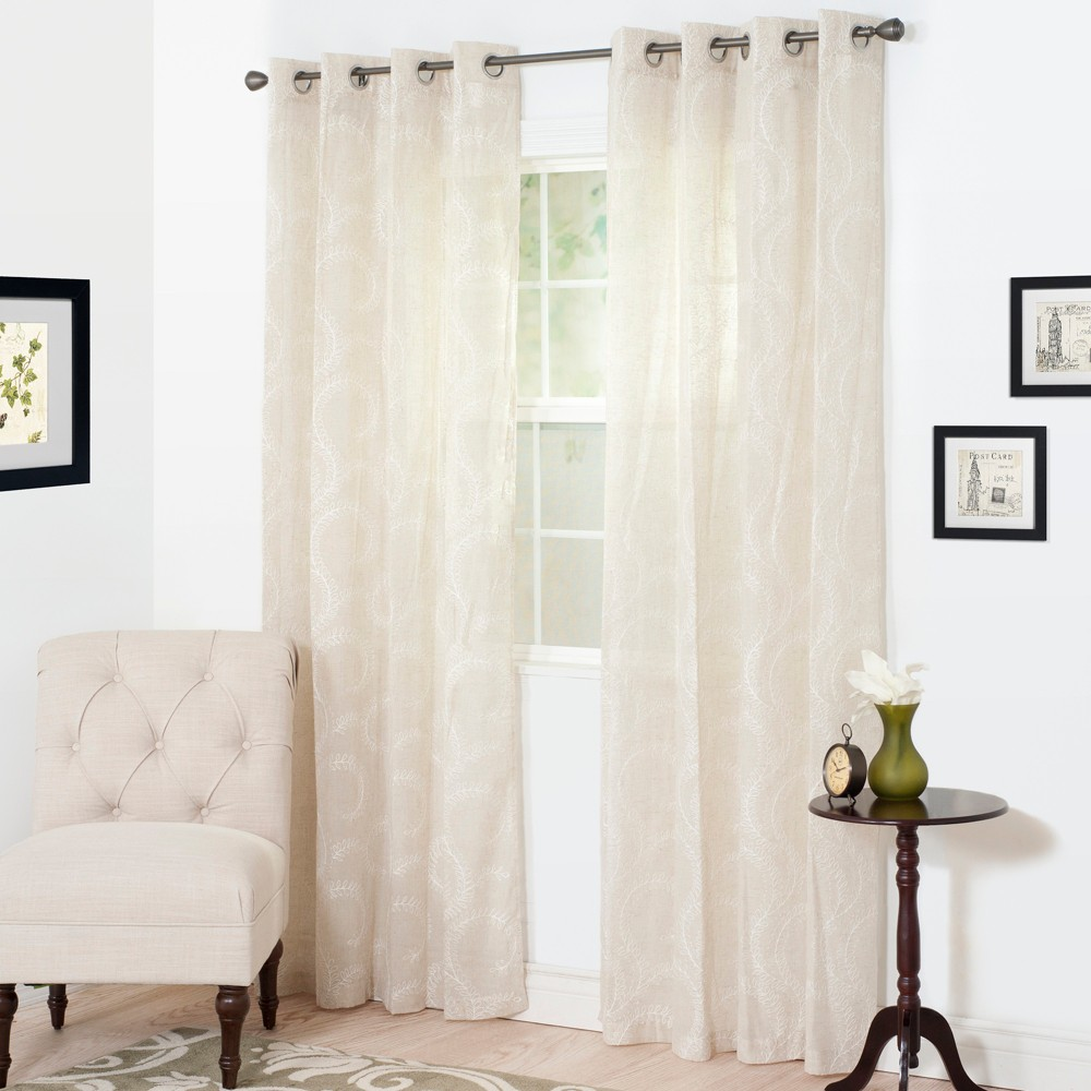 "Image of ""54""""x108"""" Andrea Embroidered Curtain Panel White - Trademark Global"""
