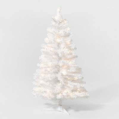 3.5ft Pre-Lit White Alberta Spruce Artificial Tree Clear Lights - Wondershop™