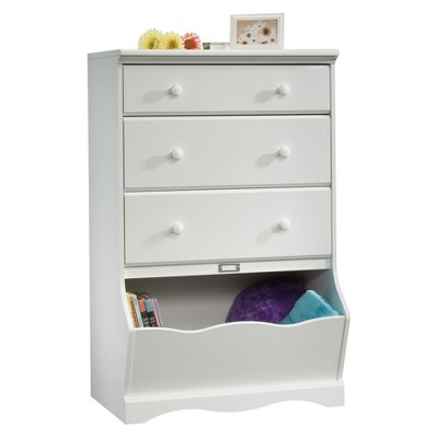 Pogo 3 Drawer Chest with Storage Bin Soft White - Sauder