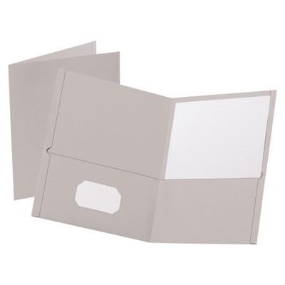 Oxford Leatherette Portfolio, 8-1/2 x 11 Inches, 2-Pocket, Gray, pk of 25