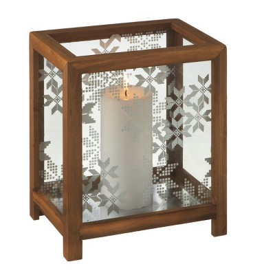 "Ganz 10"" Alpine Chic Nordic Snowflake Wooden Christmas Pillar Candle Holder"