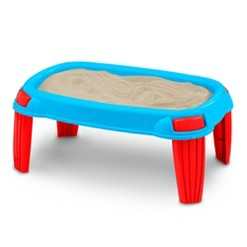 American Plastic Toys Kids Portable Outdoor Sand Table Box Playset, Blue and Red