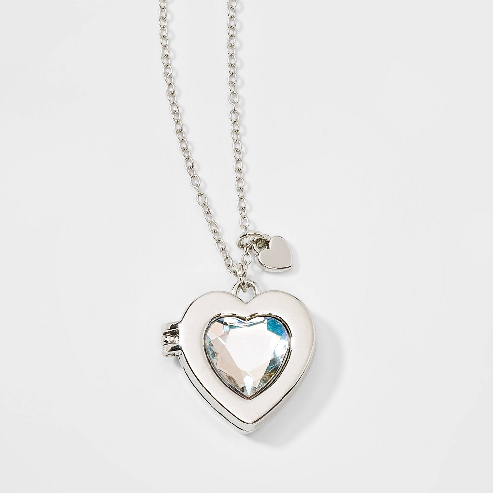 Girls' Heart with Stone Locket Necklace - Cat & Jack Silver