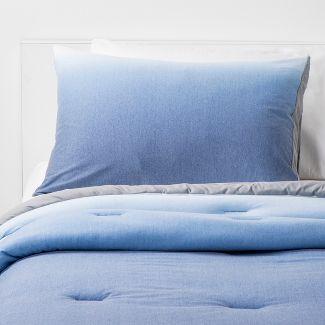 3pc Full/Queen Jersey Ombre Comforter Set Navy - Pillowfort™