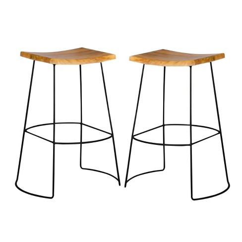 Portia 30 Saddle Seat Stool Set Of 2 Naturalblack Carolina