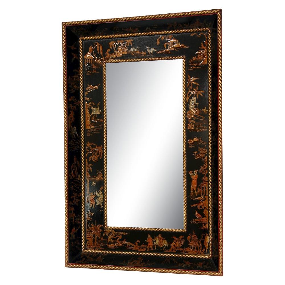 Rectangle Lacquer Decorative Wall Mirror Black - Oriental Furniture