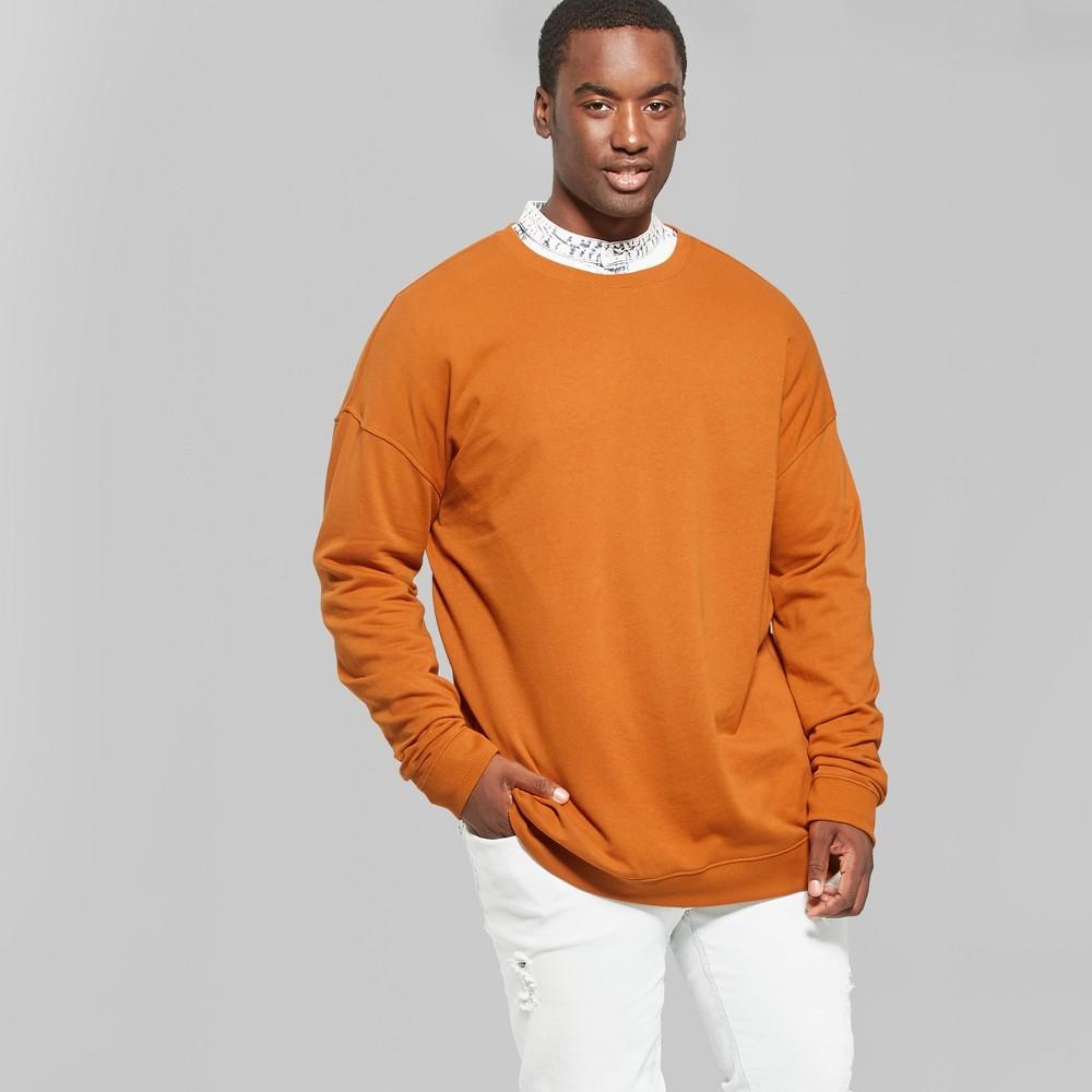Men's Big & Tall Long Sleeve Light Weight Drop Shoulder Crew Neck Sweatshirt - Original Use Copper Ore 3XBT, Orange