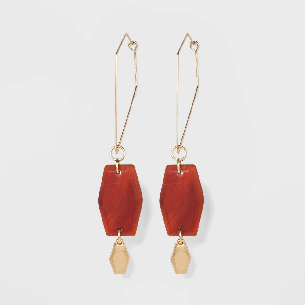 Image of Semi-Precious Stone Matte Red Agate Stone Geometric Hoop Earrings - A New Day Red, Women's