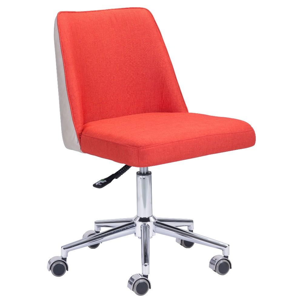 Modern Upholstered Adjustable Office Chair - Bright Orange / Beige - ZM Home, Orange And Beige