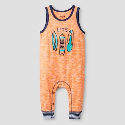 Baby Boys' Let's Ride Long Tank Romper - Cat & Jack™ Orange 12 Months