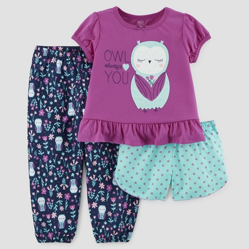 27706423fd73 Baby Girls  3pc Short Sleeve Owl Pajama Set - Just One You™ Made By ...