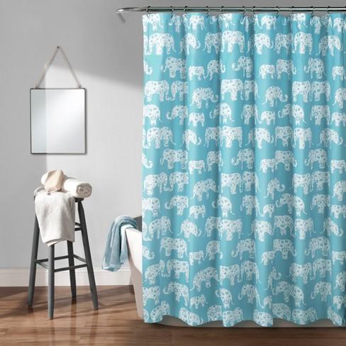 Elephant Parade Shower Curtain Aqua - Lush Dcor - image 1 of 3