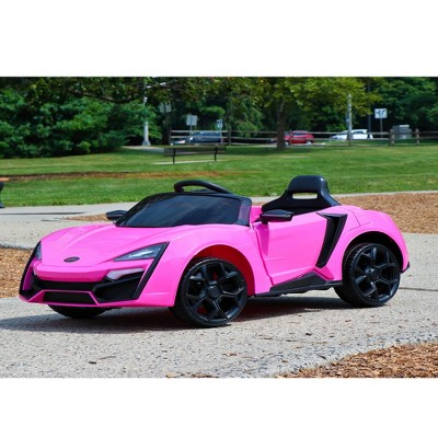 First Drive Lykan Hypersport Kids Electric Ride On Toy Car for Kids Ages 3-6 Years with Remote Control, Headlights, Aux Cord, and Horn, Pink