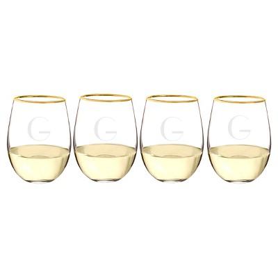 Cathy's Concepts 19.25oz 4pk Monogram Gold Rim Stemless Wine Glasses A-Z