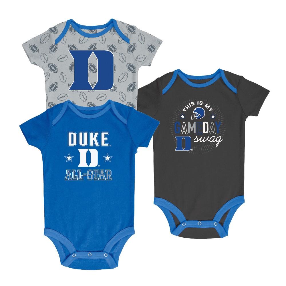 Duke Blue Devils Baby Boy Short Sleeve 3pk Bodysuit - 6-9M, Multicolored