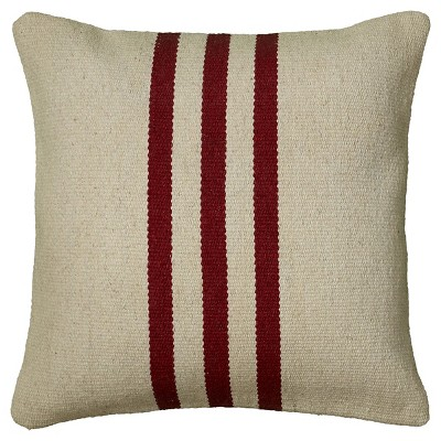 """18""""x18"""" Centered Triple Striped Woven Accent Square Throw Pillow Beige/Red - Rizzy Home"""