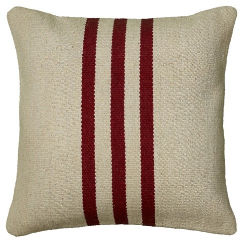 Phenomenal Beige Red Centered Triple Striped Woven Accent Throw Pillow 18X18 Rizzy Home Gmtry Best Dining Table And Chair Ideas Images Gmtryco