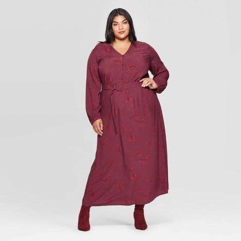 Women\'s Plus Size Floral Print Long Sleeve V-Neck Button Front Maxi Dress -  Ava & Viv™ Red