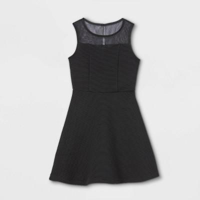 Zenzi Girls' Illusion Neckline Ottoman Dress - Black