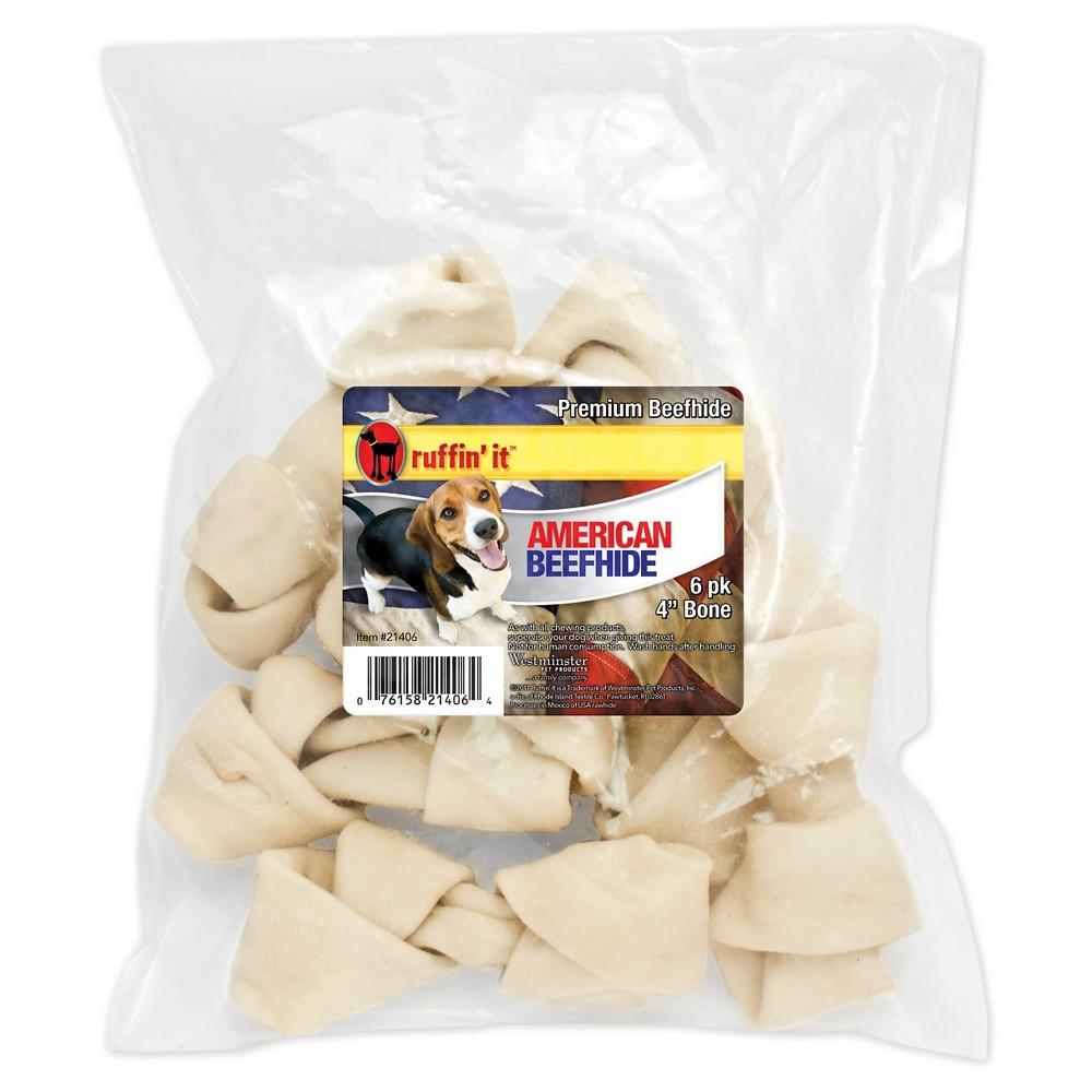 Ruffin'it American Beefhide Flat Knot Bone - 6/pkg (4-5 )