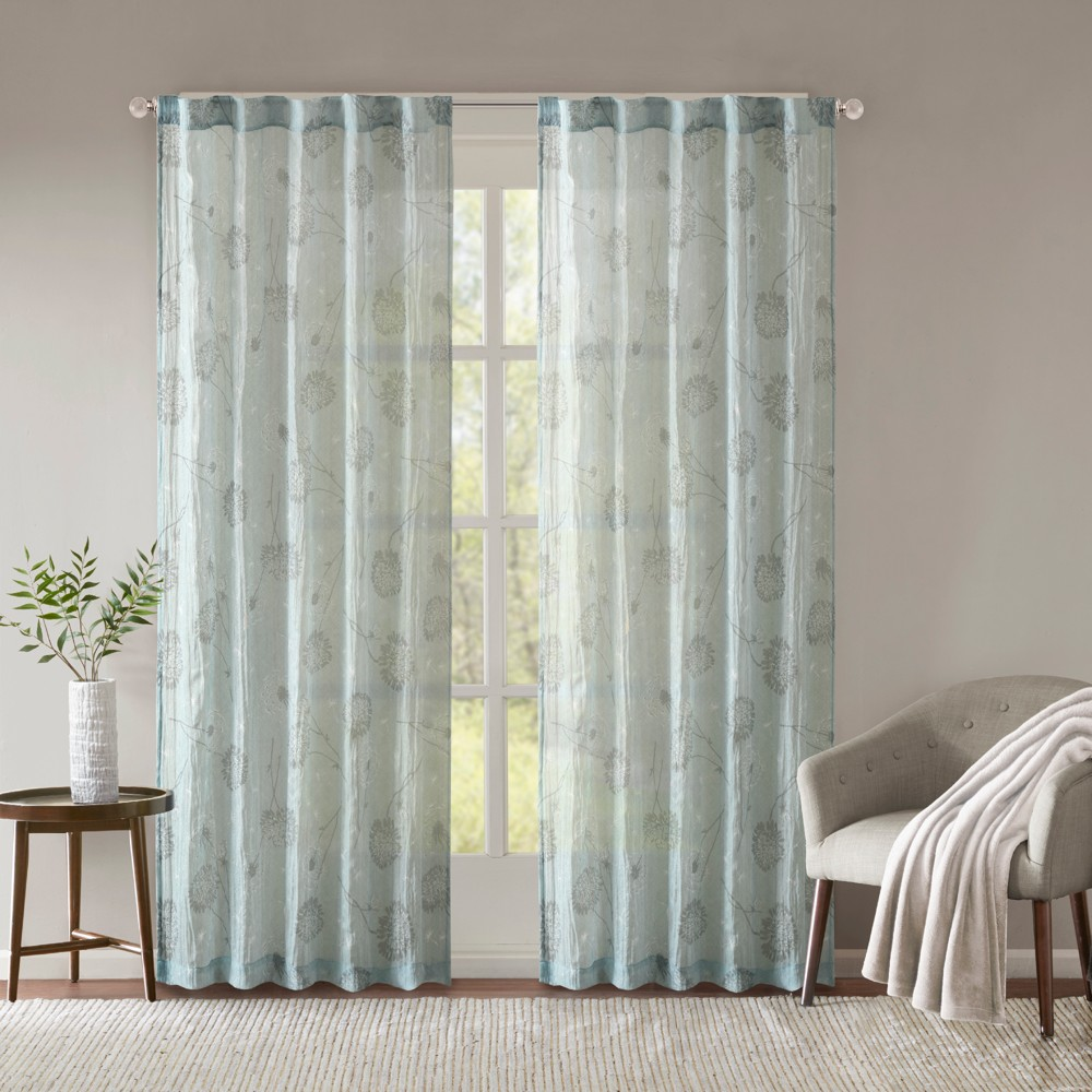 Aer Printed Crushed Window Panel Pair Aqua (Blue) 42x95