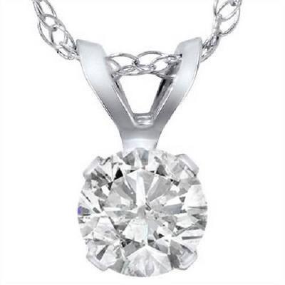 Pompeii3 .90 Carat Solitaire Pendant Natural Diamond 14K White Gold Womens Necklace