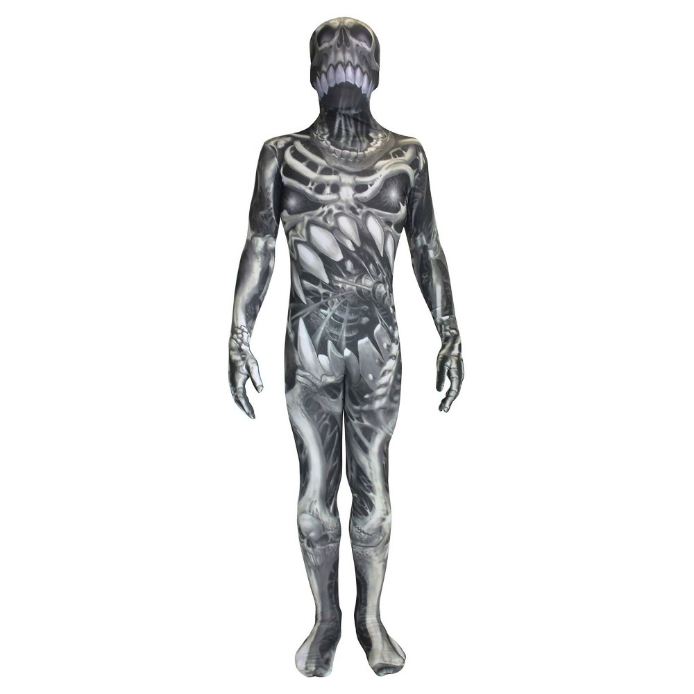 Kids' Skull and Bones Morphsuit Costume - L(12-14), Kids Unisex, Black
