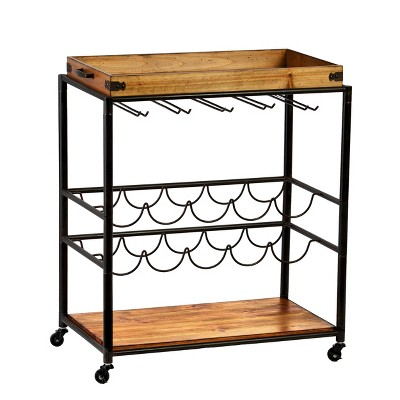 Maresal Bar Cart Black/Natural - Aiden Lane