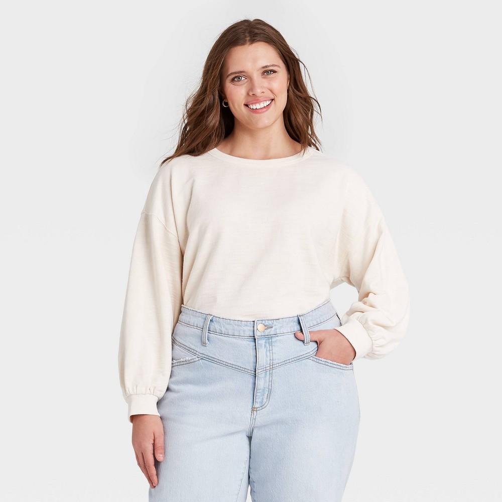 Women 39 S Plus Size Sweatshirt Universal Thread 8482 White 2x