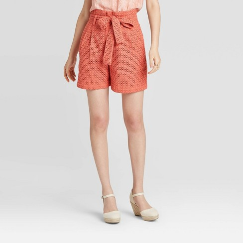 Women's High-Rise Eyelet Paperbag Shorts - A New Day™ Coral 6 - image 1 of 3