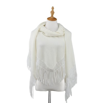 DEMDACO Triangle Knit Scarf with Fringe - White 80 x 32 - White