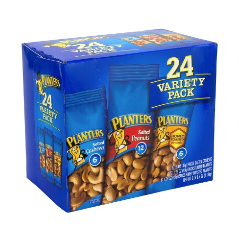 Planters Nuts Variety Pack - 8.5oz - 24ct : Target on planters honey roasted peanuts, planters peanuts variety, planters peanuts individually wrapped, blue diamond nuts pack, planters nutrition pack, planters heat peanuts, peanut planter pack,