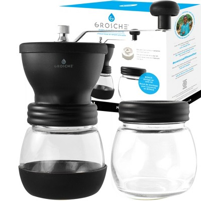 GROSCHE BREMEN Manual Coffee Grinder, Ceramic Conical Burr Coffee Grinder and Spice Mill - Black