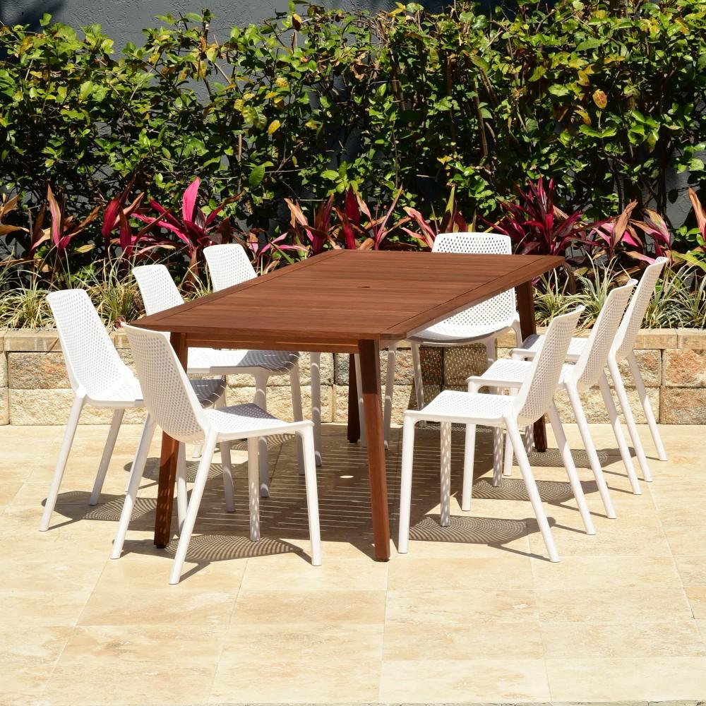 9pc Elvis Rectangular Eucalyptus/Resin Patio Dining Set White - Amazonia