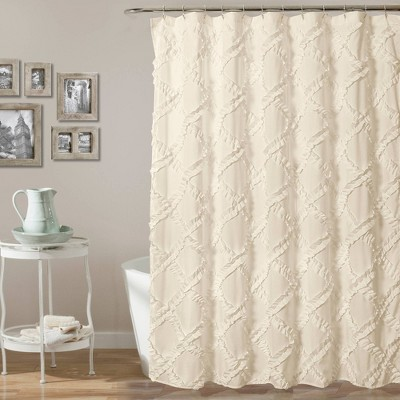 Shower Curtain Ruffle Diamond Ivory - Lush Décor