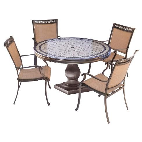 Fontana 5pc Round Metal Patio Dining Set Top Table Tan Hanover