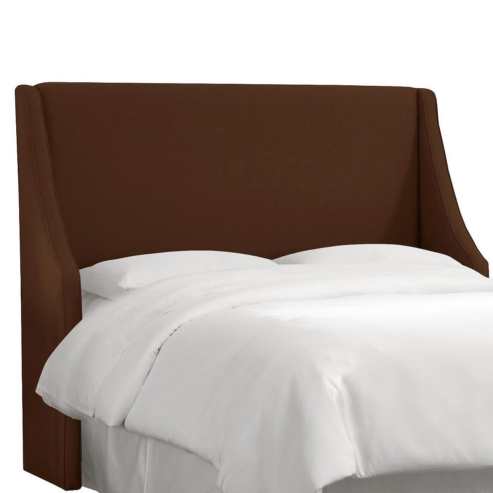 Queen Swoop Arm Wingback Headboard Linen Chocolate - Skyline Furniture