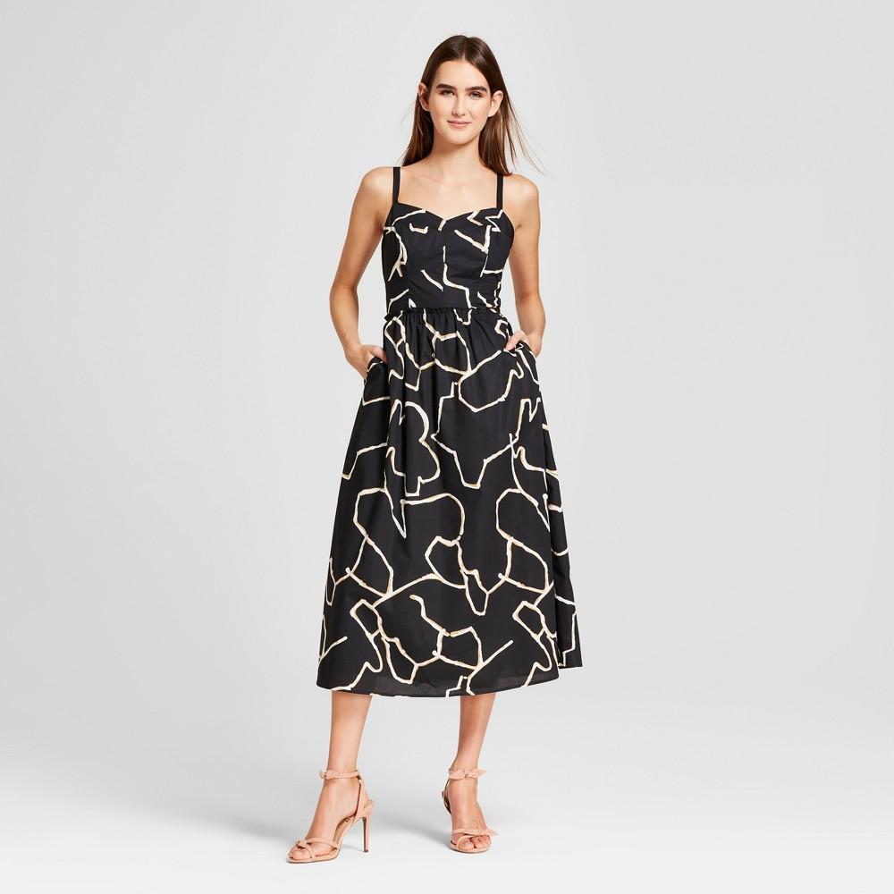Women's Poplin Midi Tank Dress - Who What Wear Black Print M