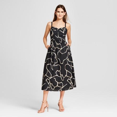 Women s Poplin Midi Tank Dress - Who What Wear™ Black Print   Target 3e61404101